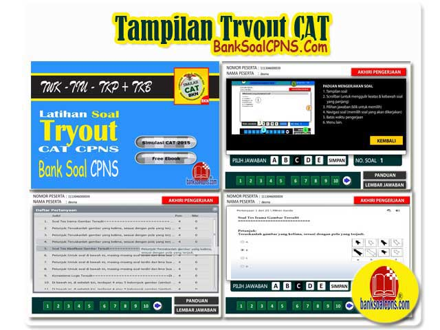 Tampilan tryout CAT banksoalcpns,tryout cat 2017